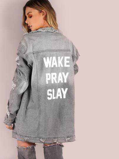 Oversized Distressed Wake Pray Slay Graphic Denim Jacket GREY