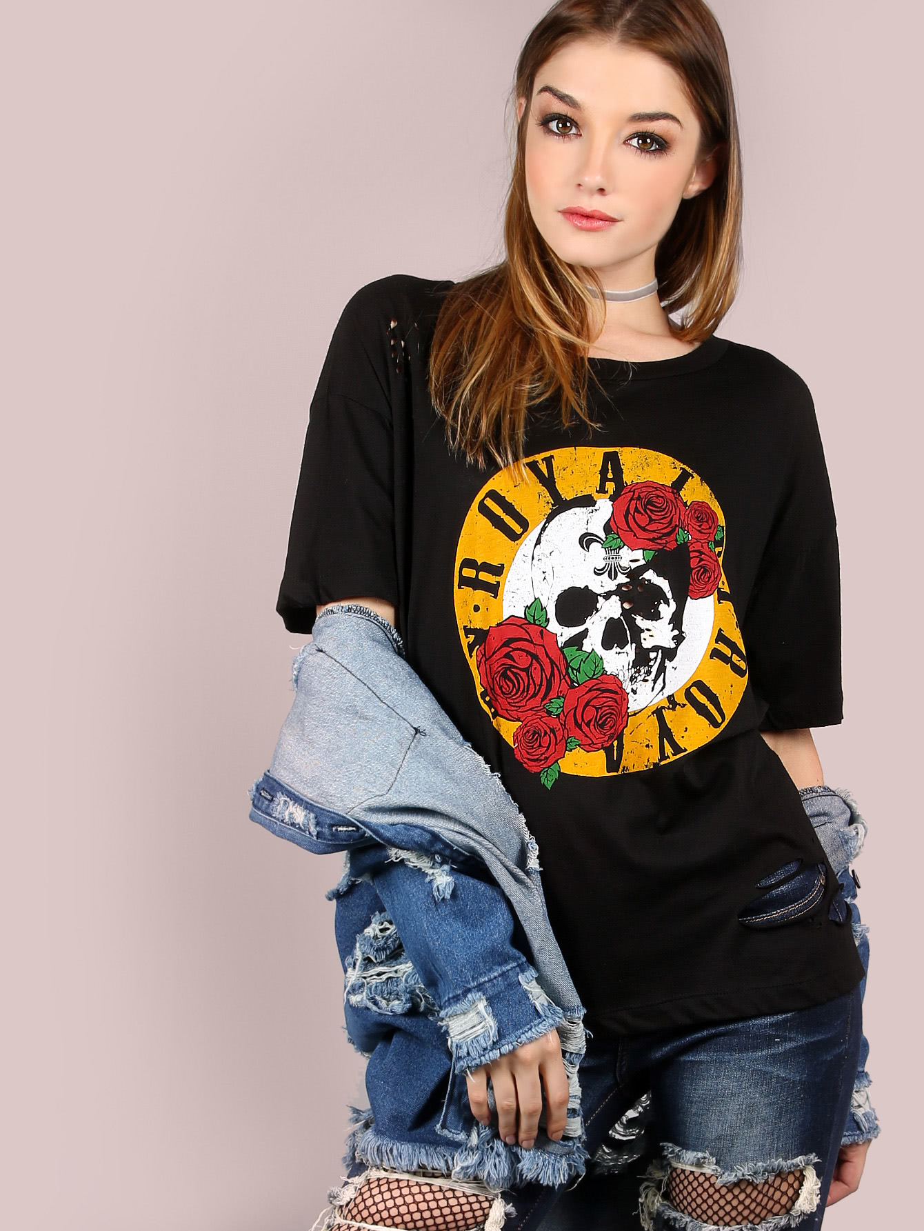 Oversized Burn Out Royalty Graphic Tee BLACK on royalty