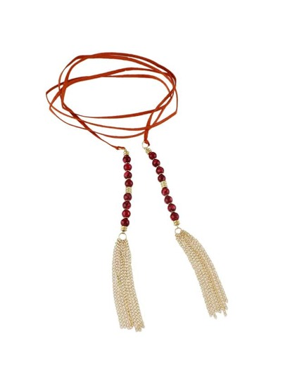 Red  Color Beads Tassel Long Suede Chain Necklaces