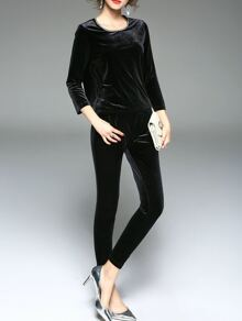 Black Velvet Top With Pockets Pants