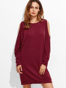 Burgundy Open Shoulder Oversized Sweatshirt Dress