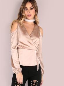 Satin Sleeved Cold Shoulder Wrap Blouse CHAMPAGNE
