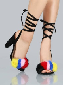 Lace Up Faux Fur Suede Heels BLACK