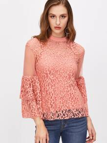 Layered Bell Sleeve Sheer Lace Top With Cami