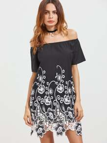 Black Lace Insert Hem Flower Embroidered Off The Shoulder Dress