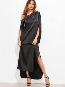 Black One Shoulder Slit Side High Low Dress