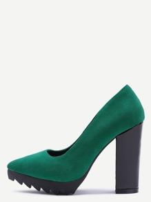 Green Suede Point Toe Block Heel Pumps