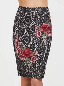 Jupe brodé floral appliqué en dentelle -noir