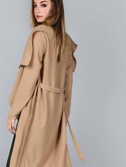 Khaki Waterfall Collar Belted Duster Coat
