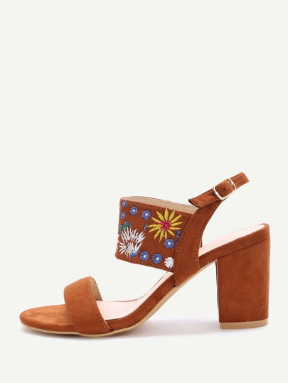 Brown Embroidery Strap Chunky Heeled Sandals
