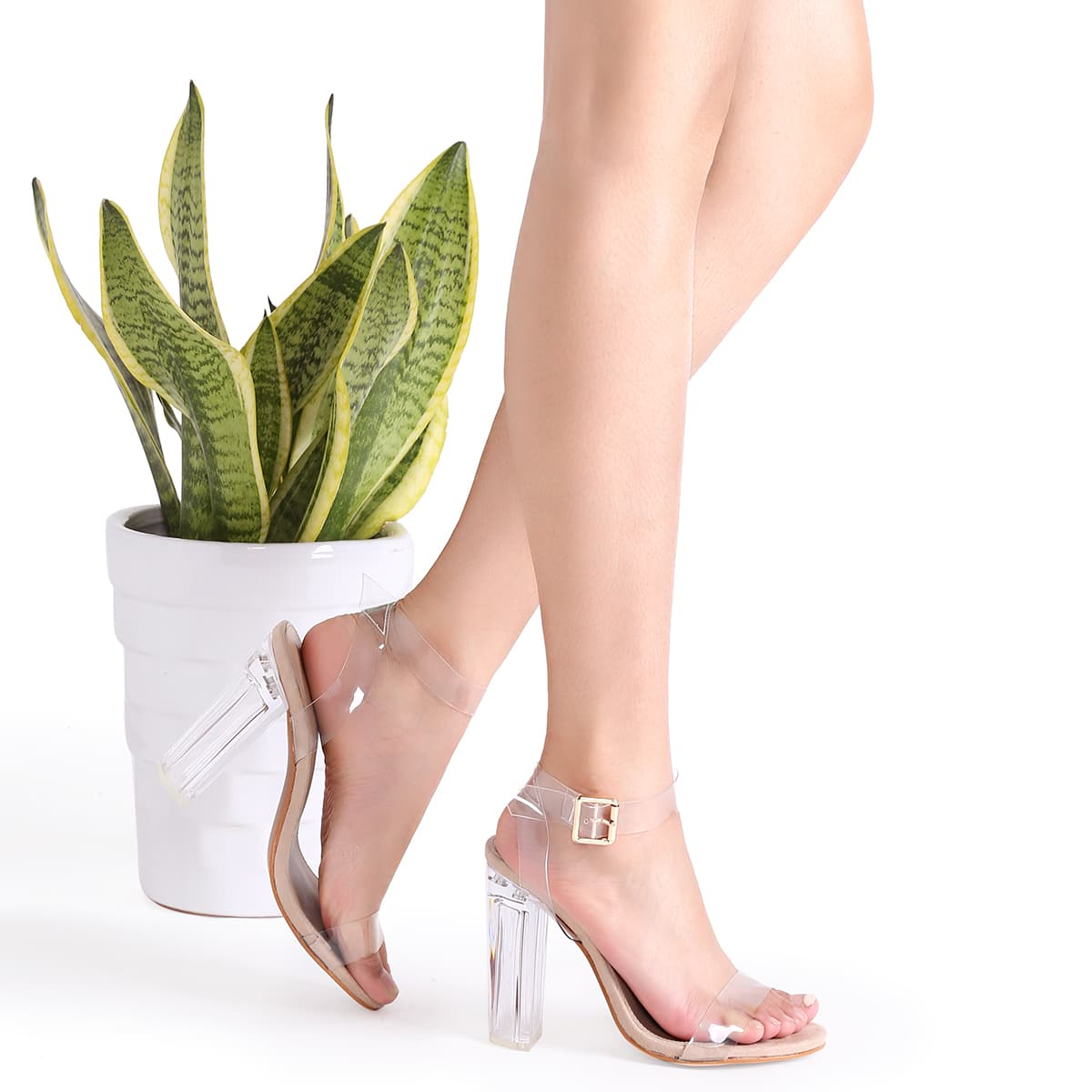 Clear Ankle Strap Peep Toe Heeled Sandals