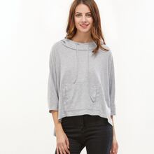 Dip Hem Pocket Front Hooded Sweatshirt