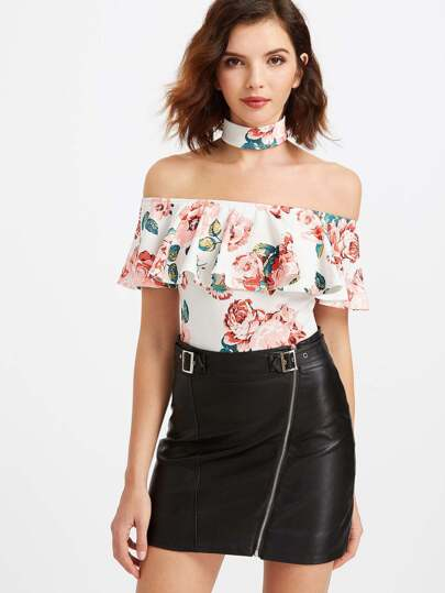 White Rose Print Ruffle Off The Shoulder Bodysuit With Choker
