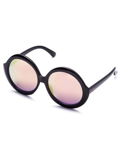 Black Iridescent Round Lens Sunglasses