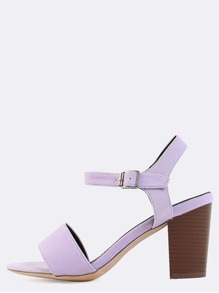 Pastel Stacked Chunky Heels LAVENDER