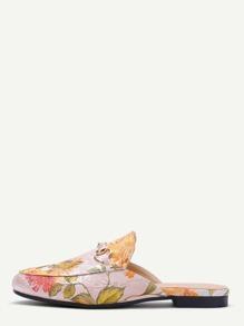 Pantuflas de satén con bordado floral - albaricoque