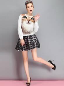Black Hat Print Mesh Overlay Skirt