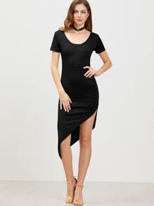 Black Low Back Short Sleeve Asymmetrical Dress