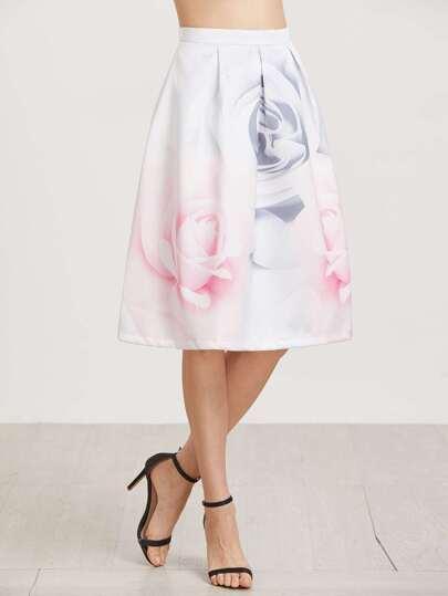 Falda con estampado floral y cremallera
