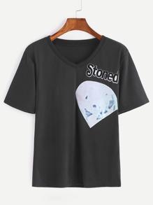 Black Short Sleeve Printed T-shirt