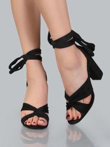 Tie Up Faux Suede Chunky Heels BLACK