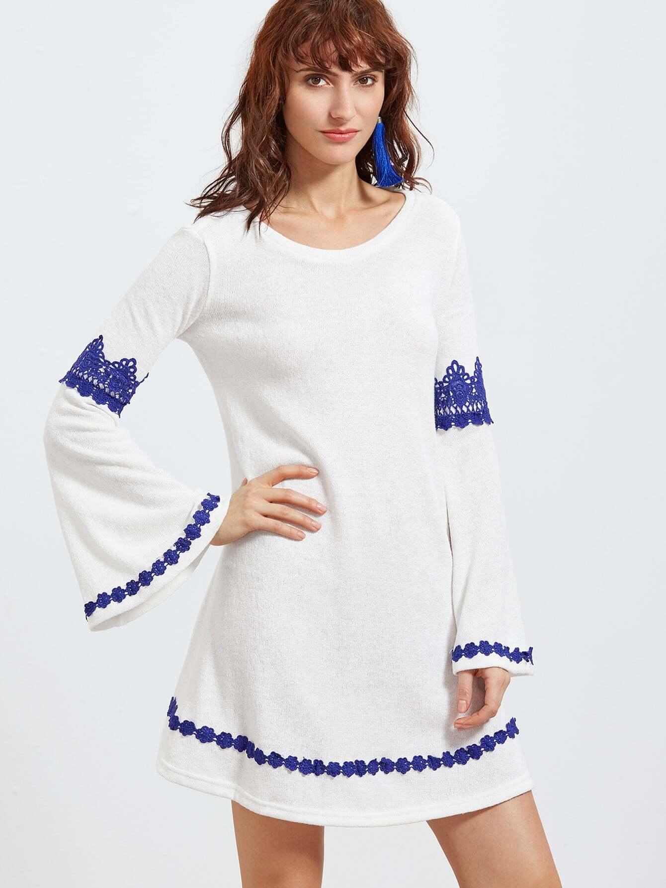 Фото Lace Crochet Trim Bell Sleeve Dress. Купить с доставкой
