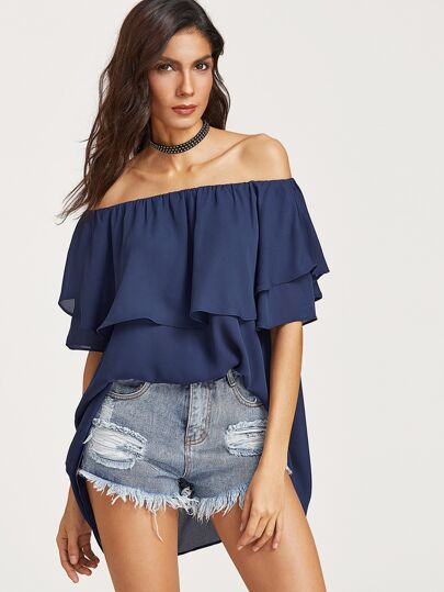 Royal Blue Ruffle Off The Shoulder Top