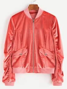 Zip Up Shirred Velvet Bomber Jacket