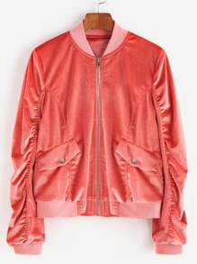 Pink Zip Up Shirred Velvet Bomber Jacket
