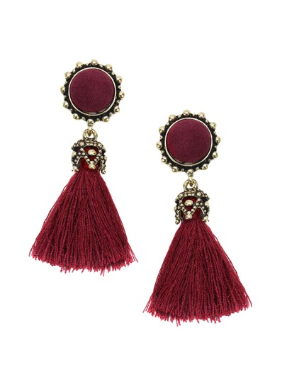 Burgundy Tassel Gold Trim Vintage Earrings