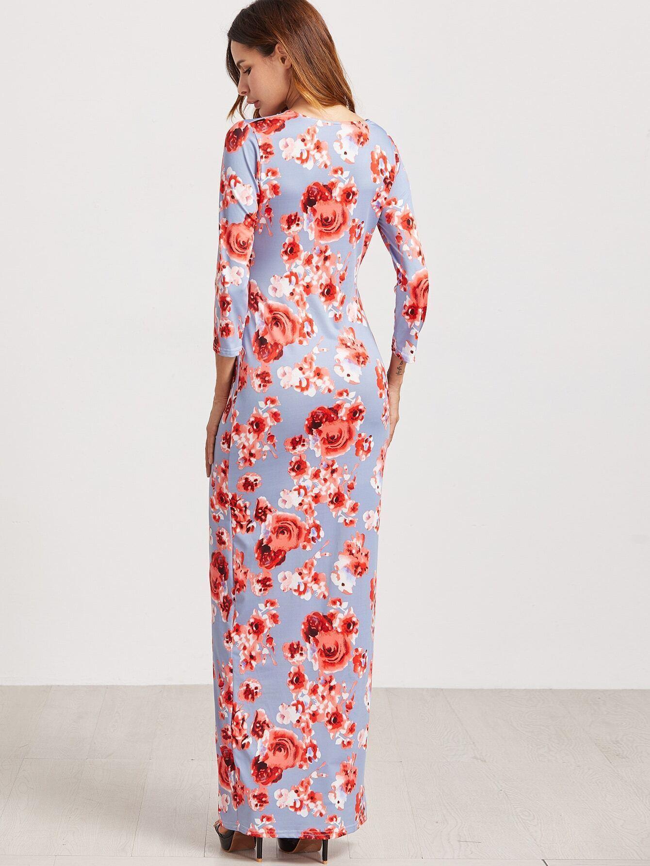 Floral print v neck knot front dress shein sheinside for The knot lookbook wedding dresses