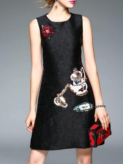 Black Sequined Disc Flowers Shift Dress