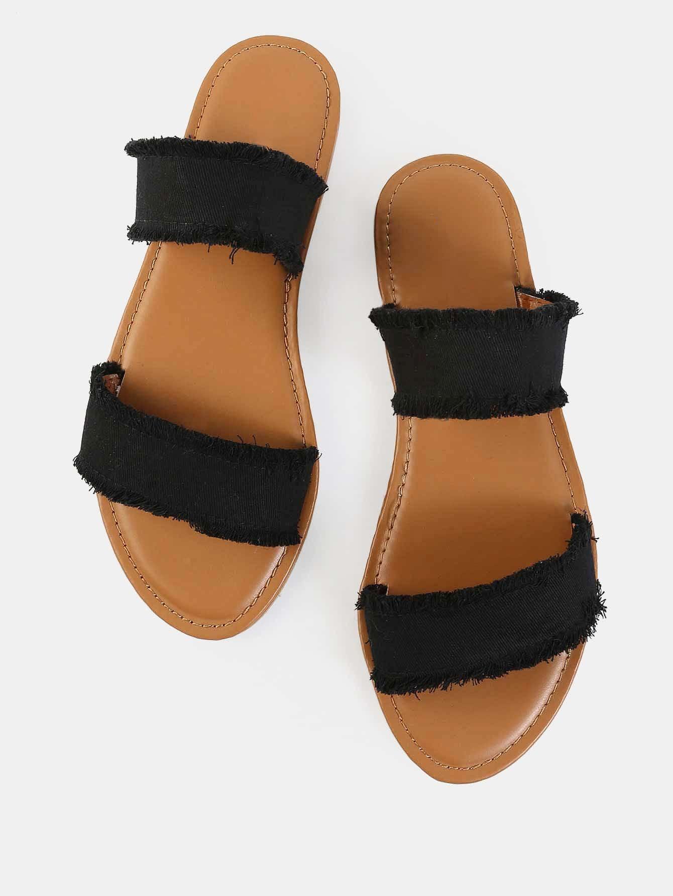 Frayed Canvas Duo Strap Sandals BLACK -SheIn(Sheinside)