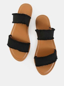 Sandalias de lona deshilachada Duo Strap