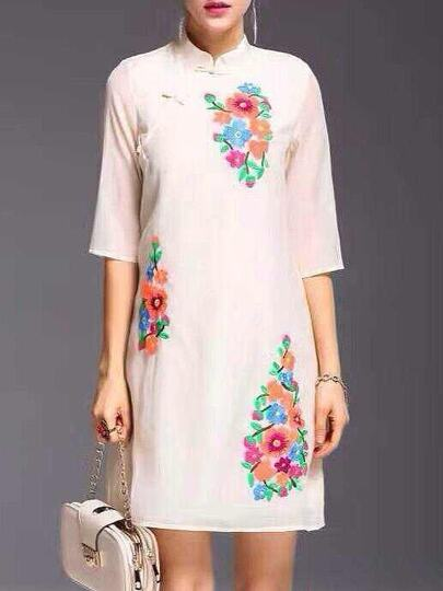 White Flowers Embroidered Shift Dress