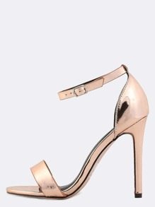 Metallic Ankle Strap Single Sole Heels ROSE GOLD