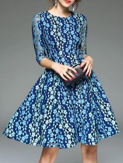 Blue Mesh Lace A-Line Dress