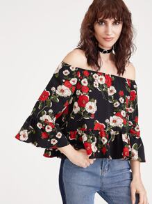 Black Flower Print Off The Shoulder Ruffle Top