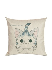 Apricot Cat Print Pillowcase Cover