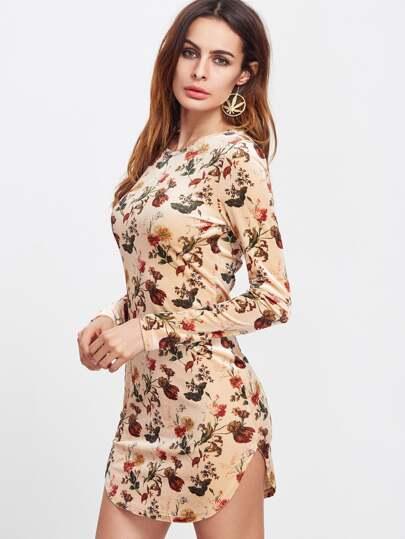 Абрикосное модное платье с цветочным принтом с изогнутым краем