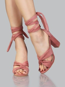 Wrap Up Open Toe Chunky Heels BLUSH
