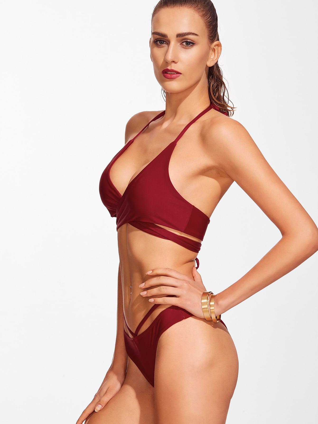 Cross Front Lace Up Halter Bikini Set Shein Sheinside