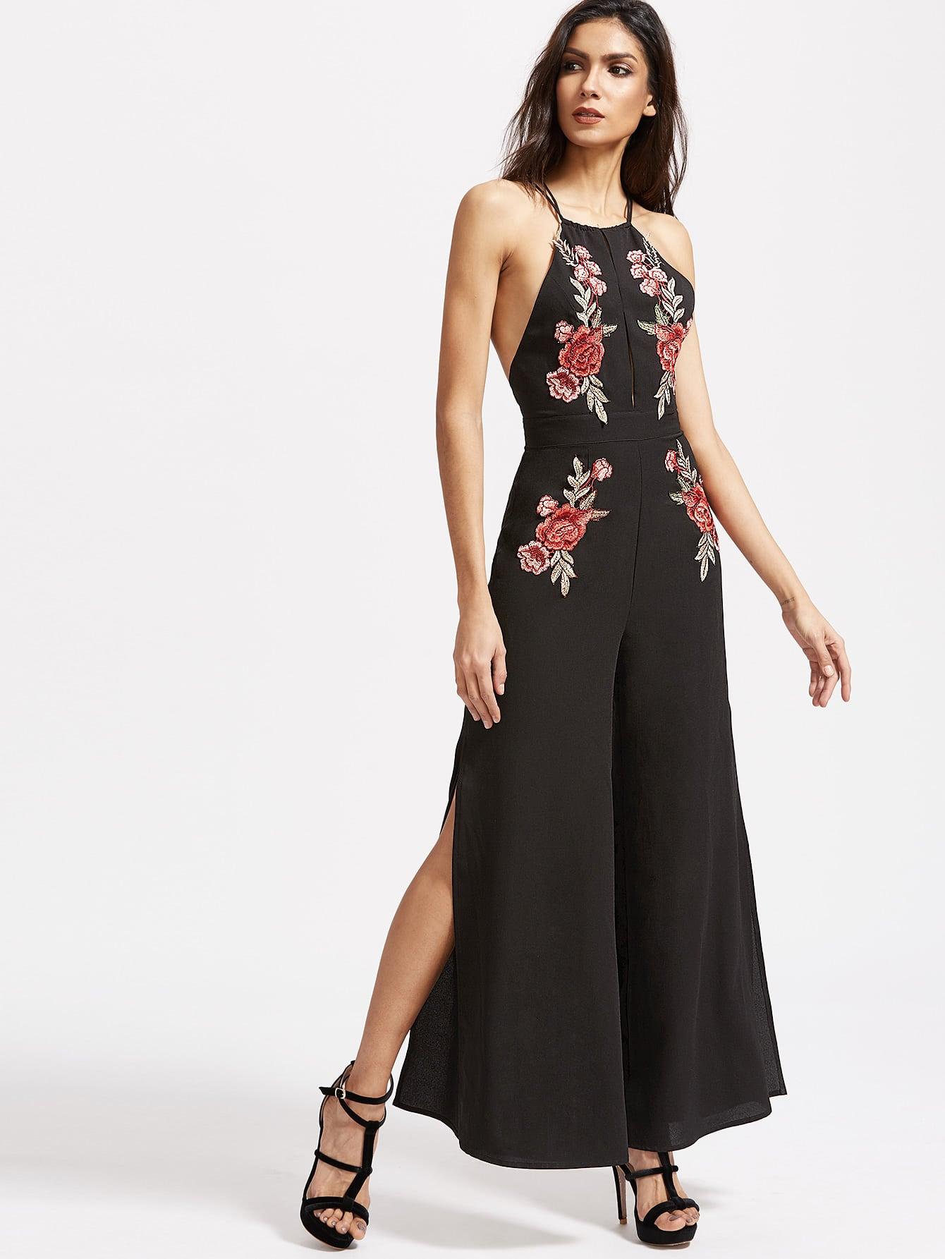 Embroidered Rose Applique Split Front Crisscross Back Jumpsuit embroidered rose applique side split belt dress