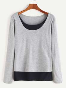 Grey Round Neck Contrast Hem T-shirt
