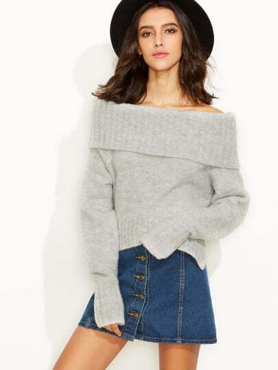 Grey Fold Over Off The Shoulder Slit Sweater