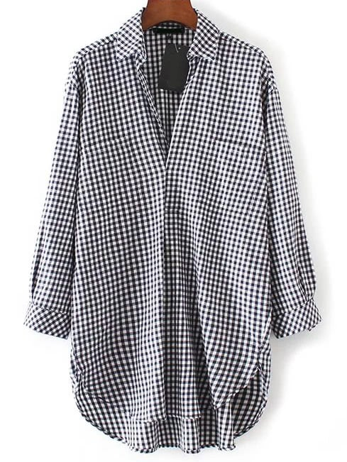 Black And White Plaid High Low Blouse With Pocket blouse170104202