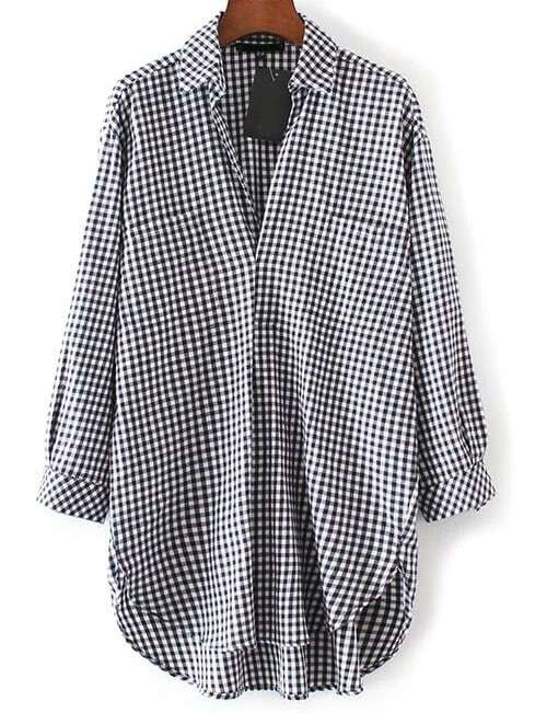 Half Placket Dolphin Hem Checkered Shirt blouse170104202