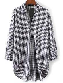 Half Placket Dolphin Hem Checkered Shirt