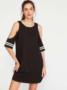 Open Shoulder Striped Sleeve Tee Dress