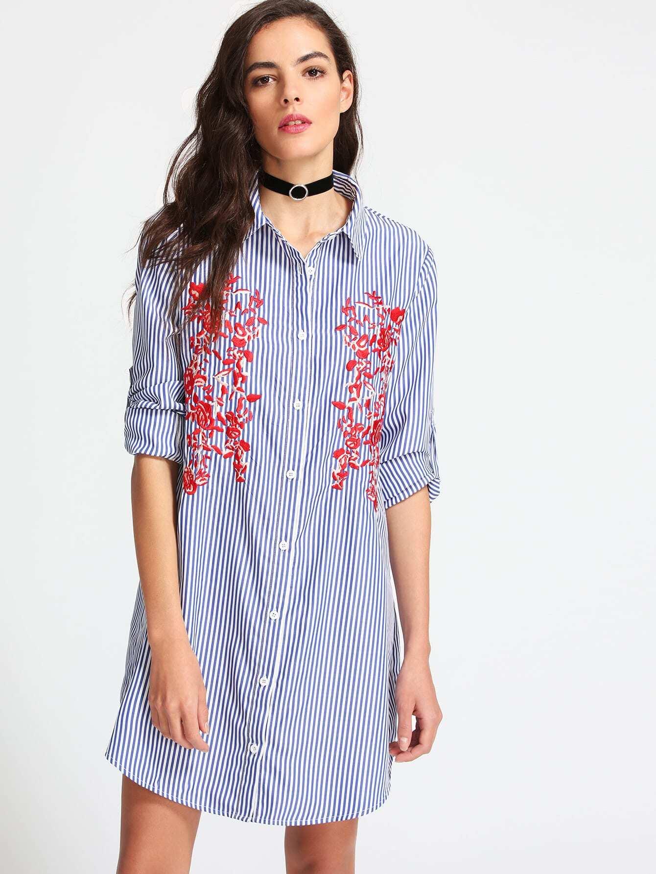 Vertical striped embroidered shirt dress shein sheinside for Vertical striped dress shirt